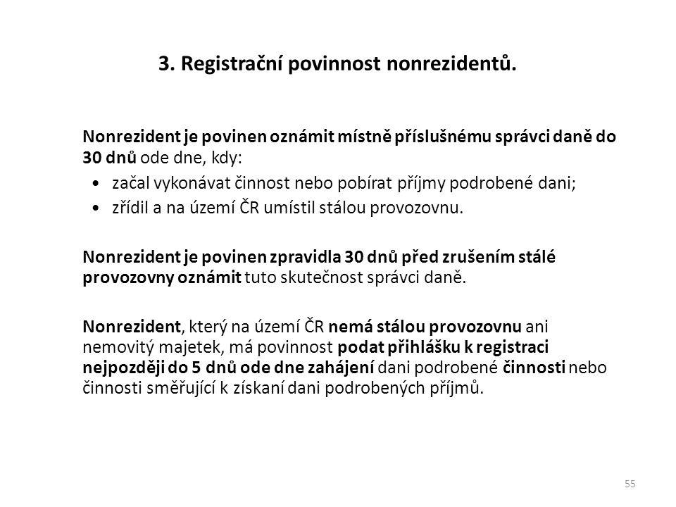 3. Registrační povinnost nonrezidentů. Nonrezident je povinen oznámit místně příslušnému správci daně do 30 dnů ode dne, kdy: začal vykonávat činnost