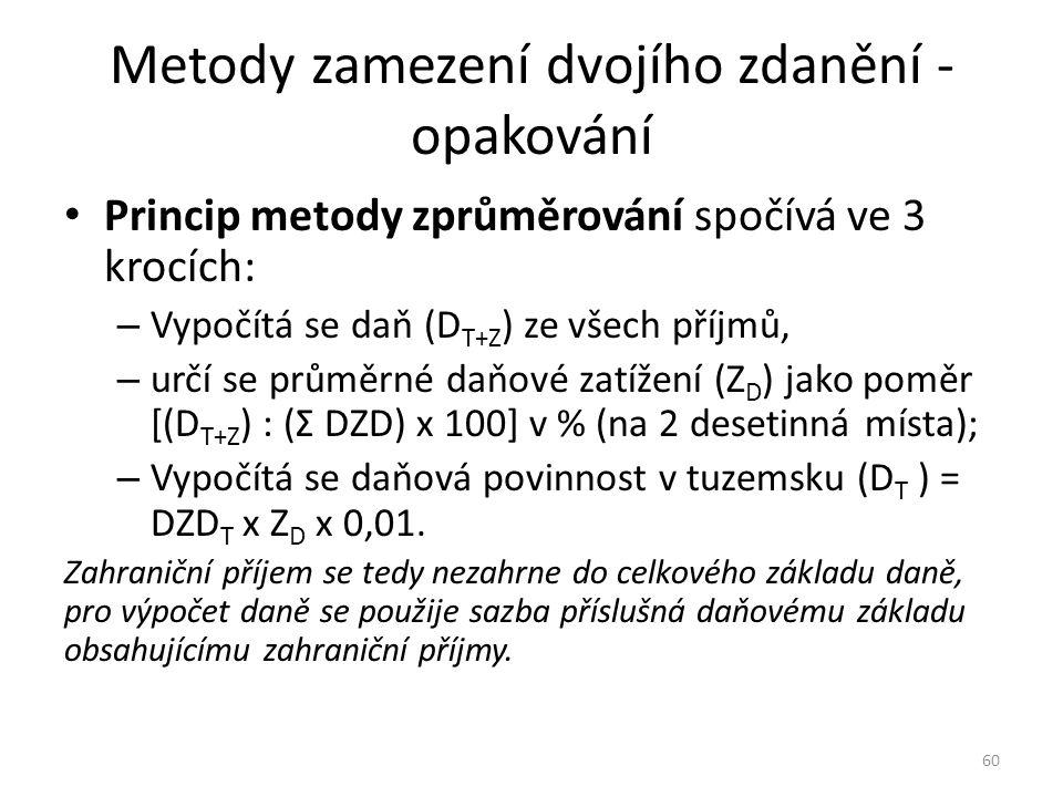 Metody zamezení dvojího zdanění - opakování Princip metody zprůměrování spočívá ve 3 krocích: – Vypočítá se daň (D T+Z ) ze všech příjmů, – určí se pr