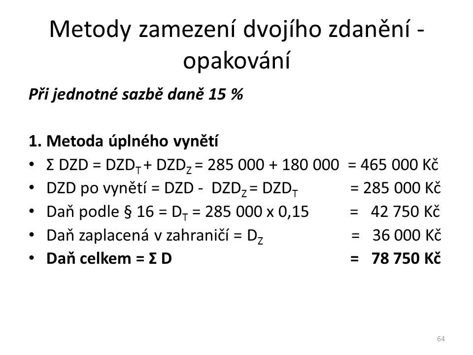 Metody zamezení dvojího zdanění - opakování Při jednotné sazbě daně 15 % 1. Metoda úplného vynětí Σ DZD = DZD T + DZD Z = 285 000 + 180 000 = 465 000