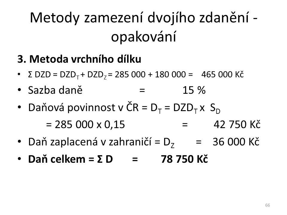 Metody zamezení dvojího zdanění - opakování 3. Metoda vrchního dílku Σ DZD = DZD T + DZD Z = 285 000 + 180 000 = 465 000 Kč Sazba daně = 15 % Daňová p
