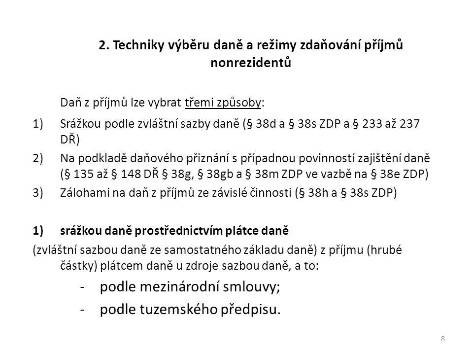 Závěr Prostudovat kapitoly ve skriptech: 3 Zdaňování příjmů nerezidentů ČR se zdrojem v ČR (str.