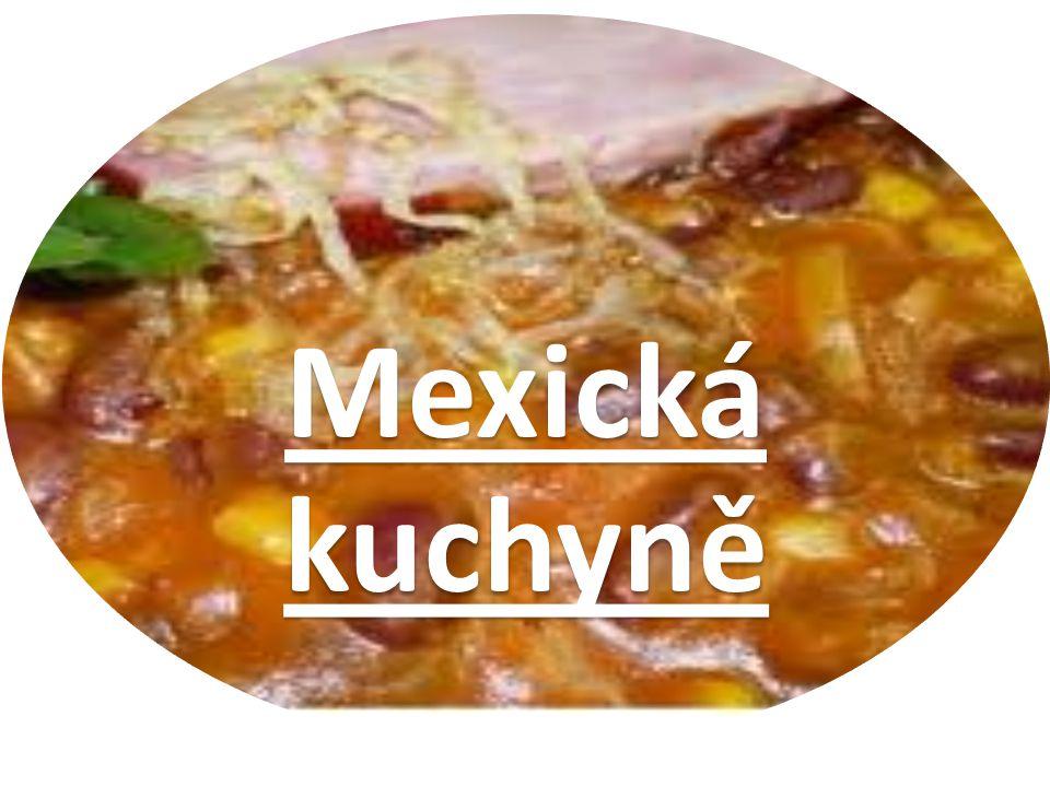 Co je pro ni typické - ze surovin jsou pro ni typické hlavně fazole, kukuřice a chilli papričky -z koření hlavně mletá chilli paprika, koriandr, merlík, oregano, ale také se používá česnek, cibule a římský kmín