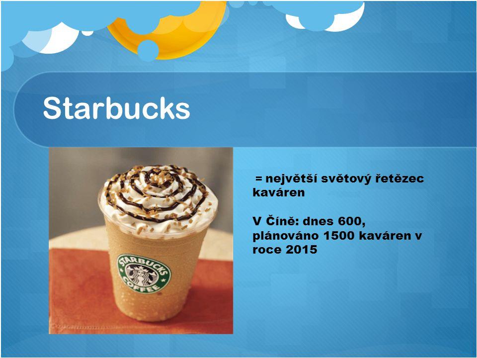 Starbucks = největší světový řetězec kaváren V Číně: dnes 600, plánováno 1500 kaváren v roce 2015