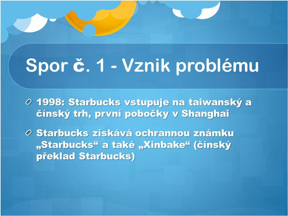 """Spor č. 1 - Vznik problému 1998: Starbucks vstupuje na taiwanský a čínský trh, první pobočky v Shanghai Starbucks získává ochrannou známku """"Starbucks"""""""