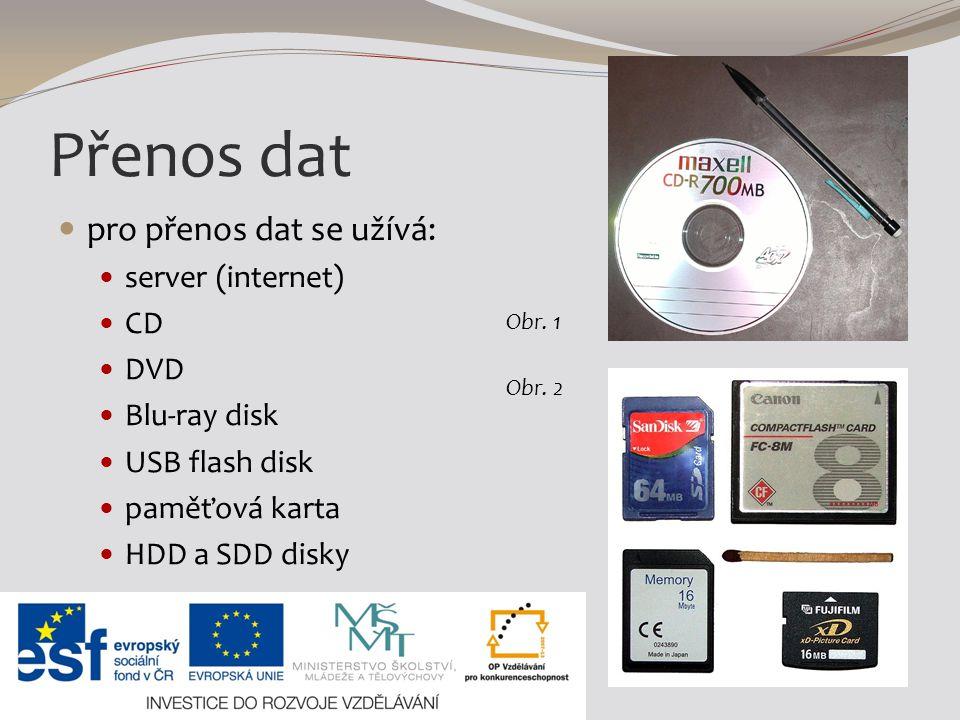 Přenos dat pro přenos dat se užívá: server (internet) CD DVD Blu-ray disk USB flash disk paměťová karta HDD a SDD disky Obr. 1 Obr. 2
