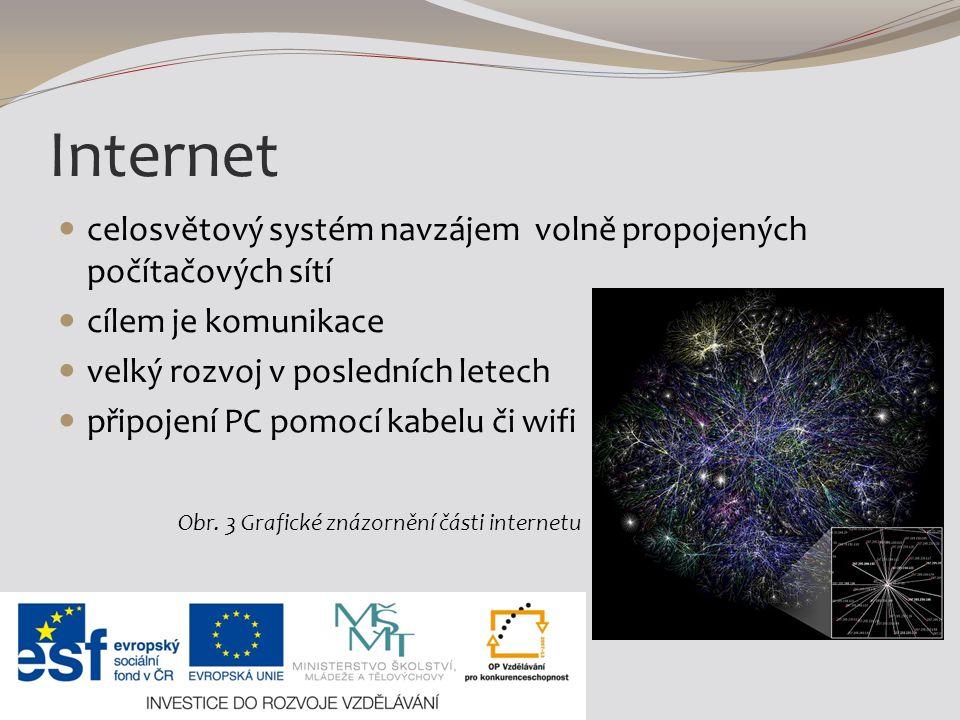Internet celosvětový systém navzájem volně propojených počítačových sítí cílem je komunikace velký rozvoj v posledních letech připojení PC pomocí kabelu či wifi Obr.