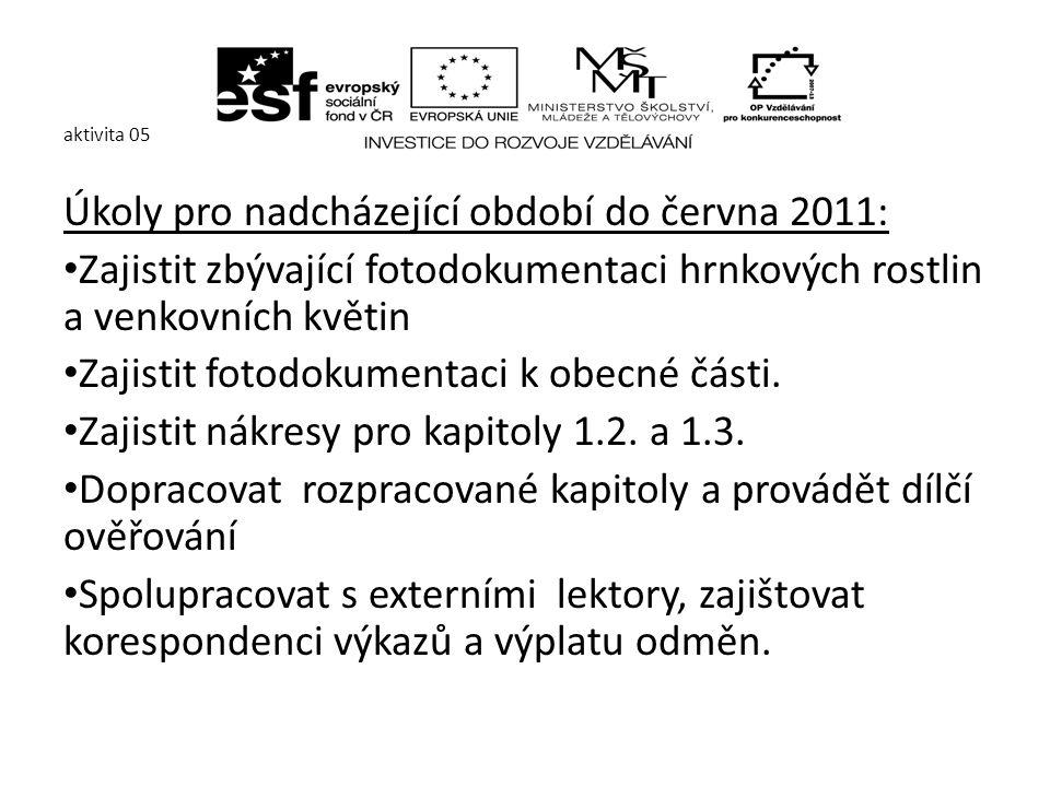 aktivita 05 Úkoly pro nadcházející období do června 2011: Zajistit zbývající fotodokumentaci hrnkových rostlin a venkovních květin Zajistit fotodokumentaci k obecné části.