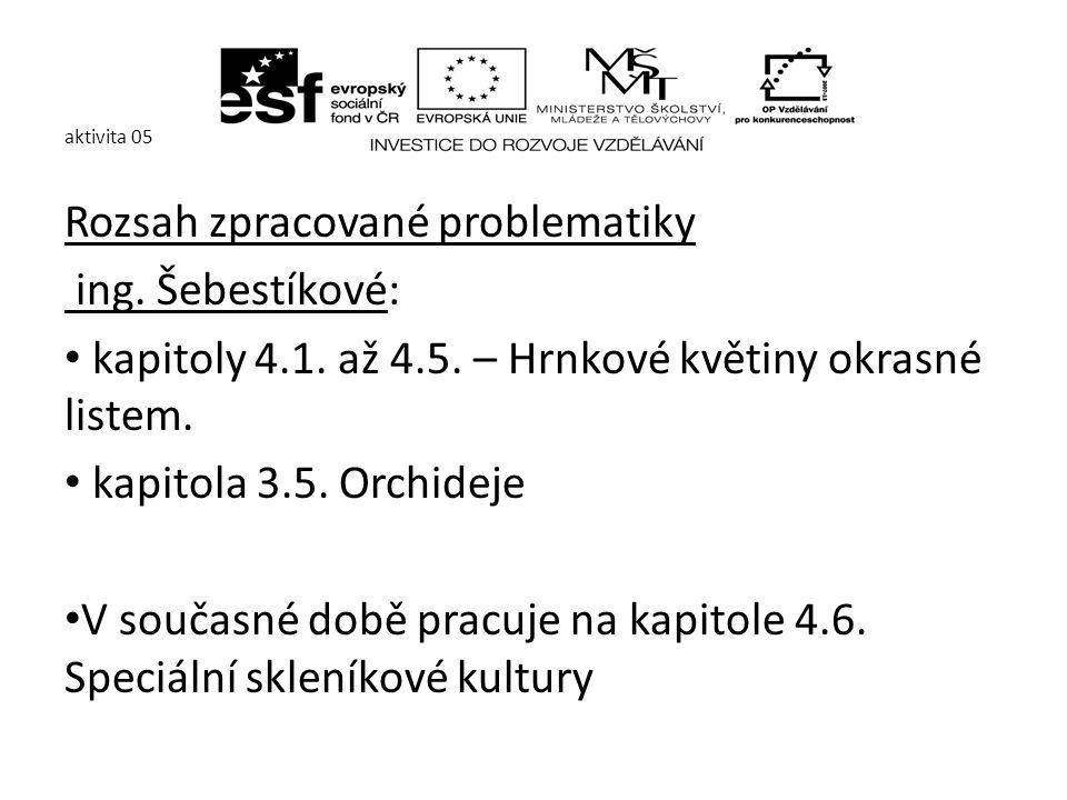 aktivita 05 Ing.V. Nachlingerová zpracovala kapitolu 2.3.