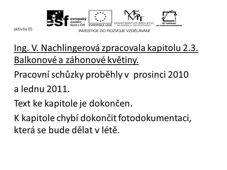 aktivita 05 Ing. V. Nachlingerová zpracovala kapitolu 2.3.