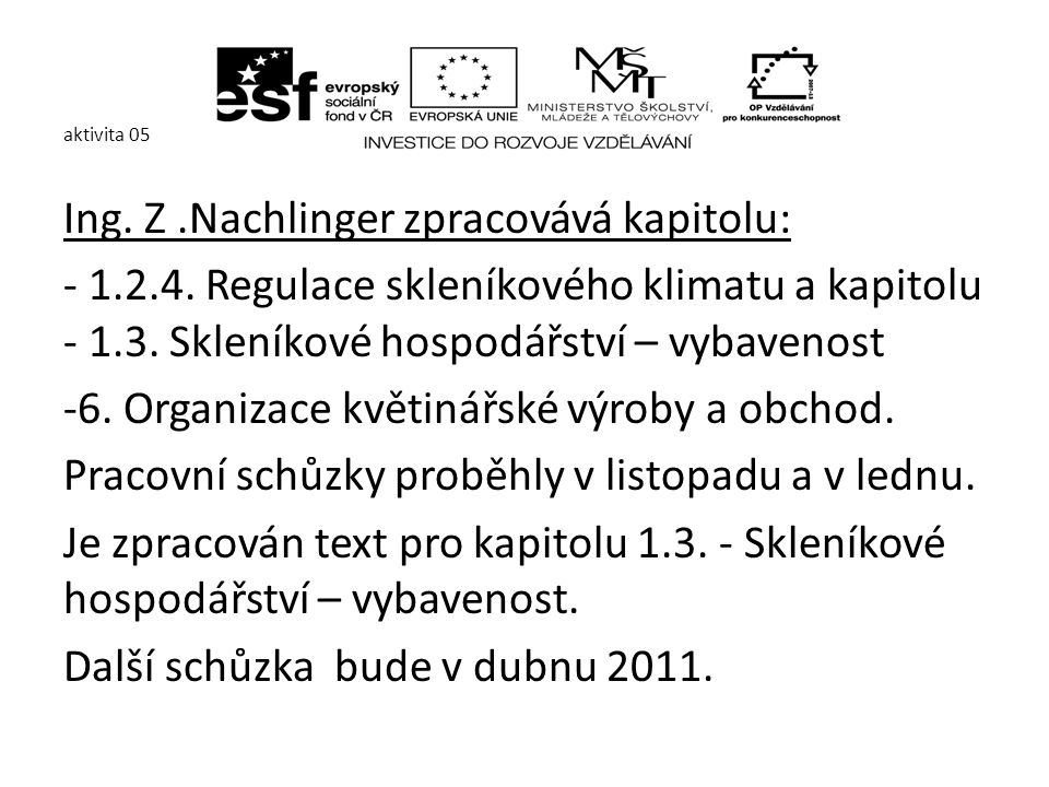 aktivita 05 Ing. Z.Nachlinger zpracovává kapitolu: - 1.2.4.