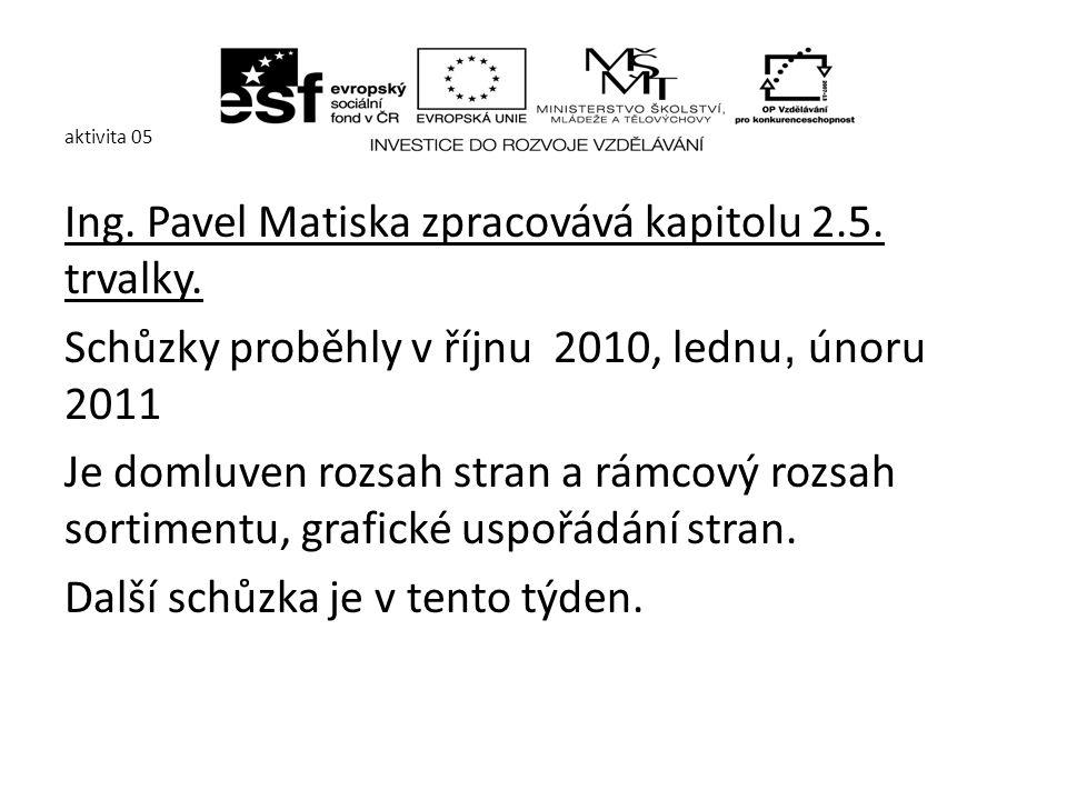 aktivita 05 Ing. Pavel Matiska zpracovává kapitolu 2.5.