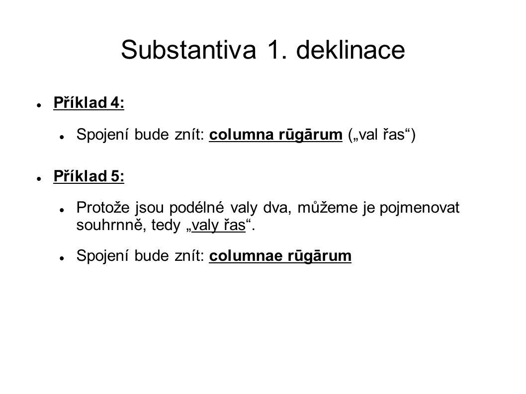 """Substantiva 1. deklinace Příklad 4: Spojení bude znít: columna rūgārum (""""val řas"""") Příklad 5: Protože jsou podélné valy dva, můžeme je pojmenovat souh"""