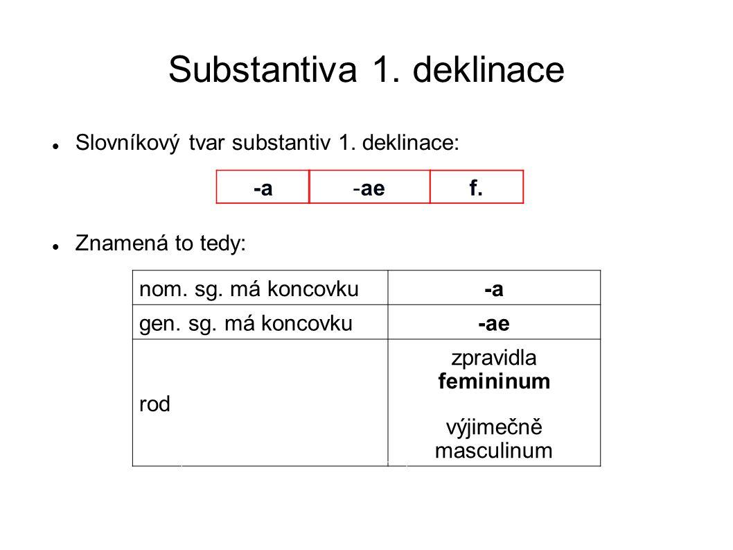 Substantiva 1. deklinace Slovníkový tvar substantiv 1. deklinace: Znamená to tedy: nom. sg. má koncovku-a gen. sg. má koncovku-ae rod zpravidla femini