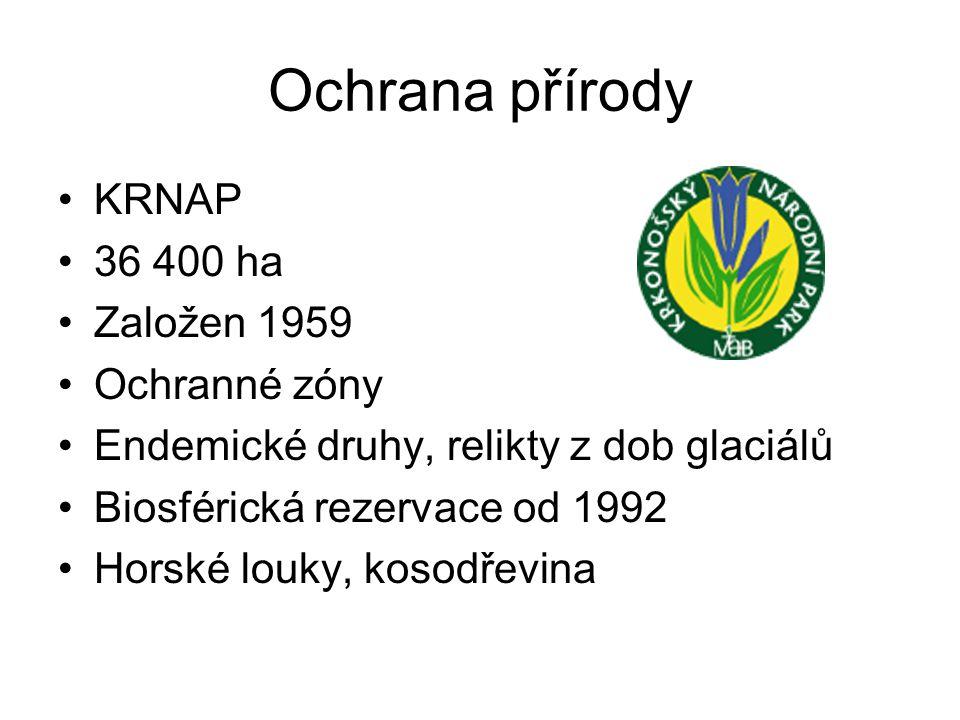 Ochrana přírody KRNAP 36 400 ha Založen 1959 Ochranné zóny Endemické druhy, relikty z dob glaciálů Biosférická rezervace od 1992 Horské louky, kosodře