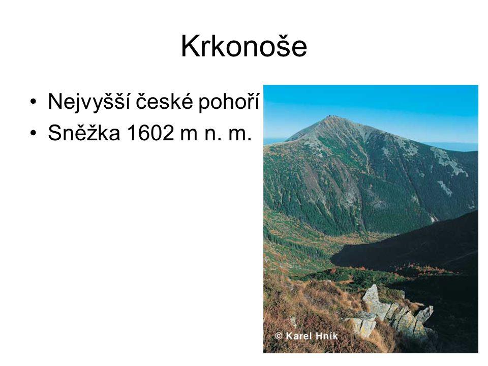Krkonošský hřeben Délka 35 km Výška 516-1602 m n.m.