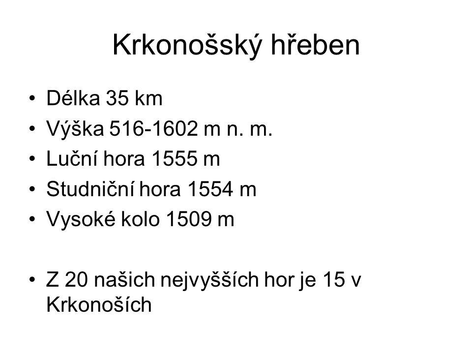 Krkonošský hřeben Délka 35 km Výška 516-1602 m n. m. Luční hora 1555 m Studniční hora 1554 m Vysoké kolo 1509 m Z 20 našich nejvyšších hor je 15 v Krk
