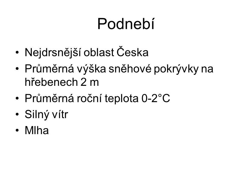 Podnebí Nejdrsnější oblast Česka Průměrná výška sněhové pokrývky na hřebenech 2 m Průměrná roční teplota 0-2°C Silný vítr Mlha