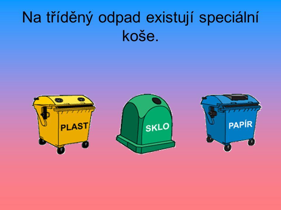 Na tříděný odpad existují speciální koše.