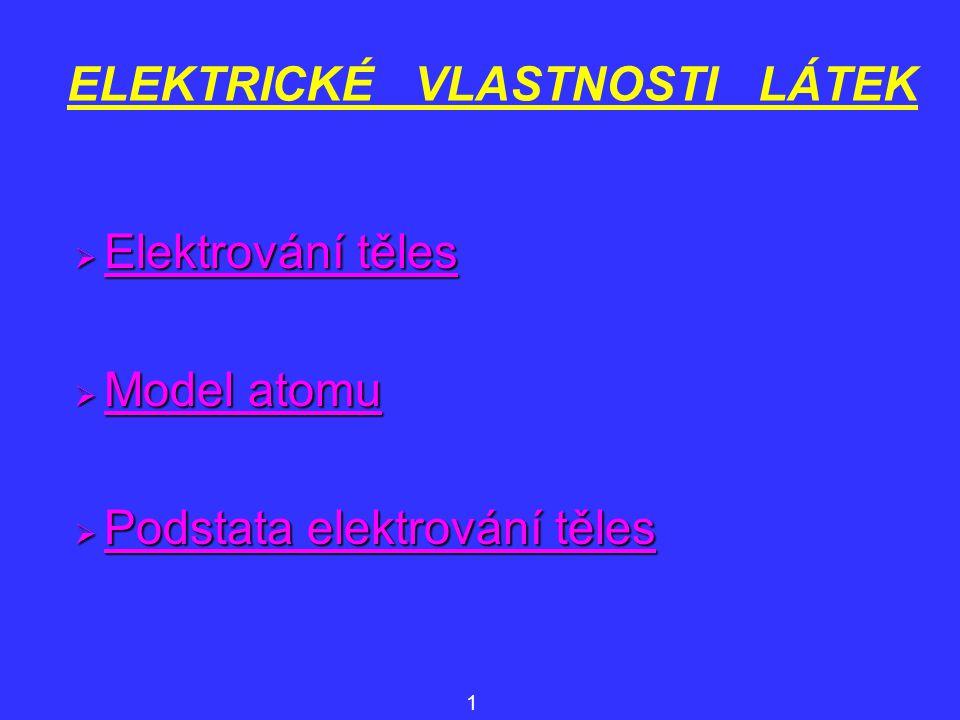 ELEKTRICKÉ VLASTNOSTI LÁTEK  Elektrování těles Elektrování těles Elektrování těles  Model atomu Model atomu Model atomu  Podstata elektrování těles Podstata elektrování těles Podstata elektrování těles 1