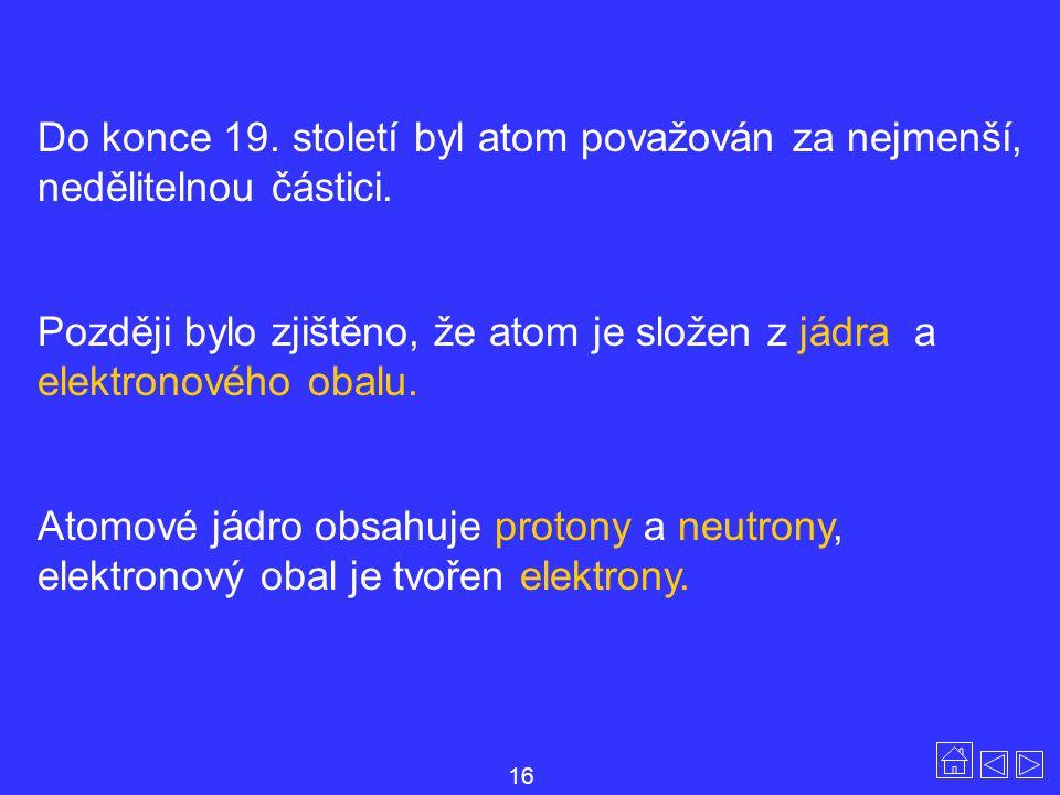 Do konce 19. století byl atom považován za nejmenší, nedělitelnou částici. Později bylo zjištěno, že atom je složen z jádra a elektronového obalu. Ato