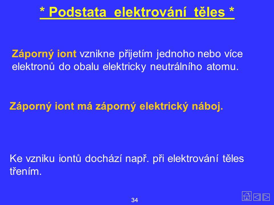 * Podstata elektrování těles * Ke vzniku iontů dochází např. při elektrování těles třením. Záporný iont vznikne přijetím jednoho nebo více elektronů d