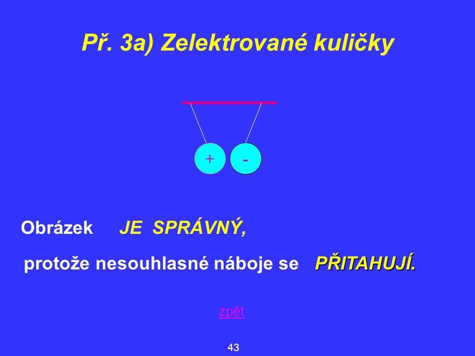 Obrázek JE SPRÁVNÝ, Př. 3a) Zelektrované kuličky 43 zpět +- PŘITAHUJÍ. protože nesouhlasné náboje se PŘITAHUJÍ.