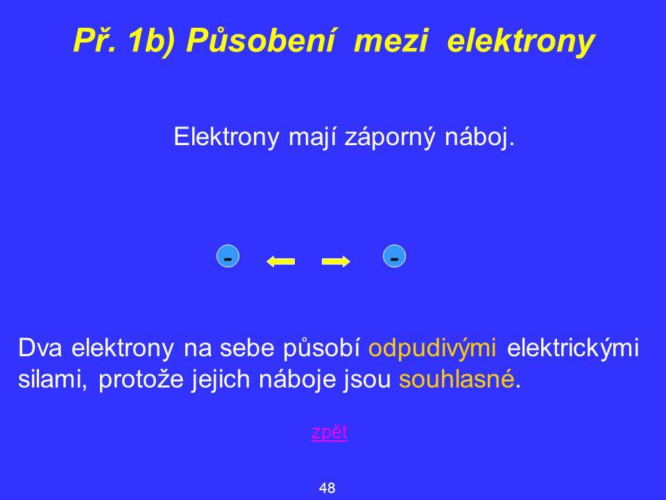 Př. 1b) Působení mezi elektrony Elektrony mají záporný náboj. -- zpět 48 Dva elektrony na sebe působí odpudivými elektrickými silami, protože jejich n
