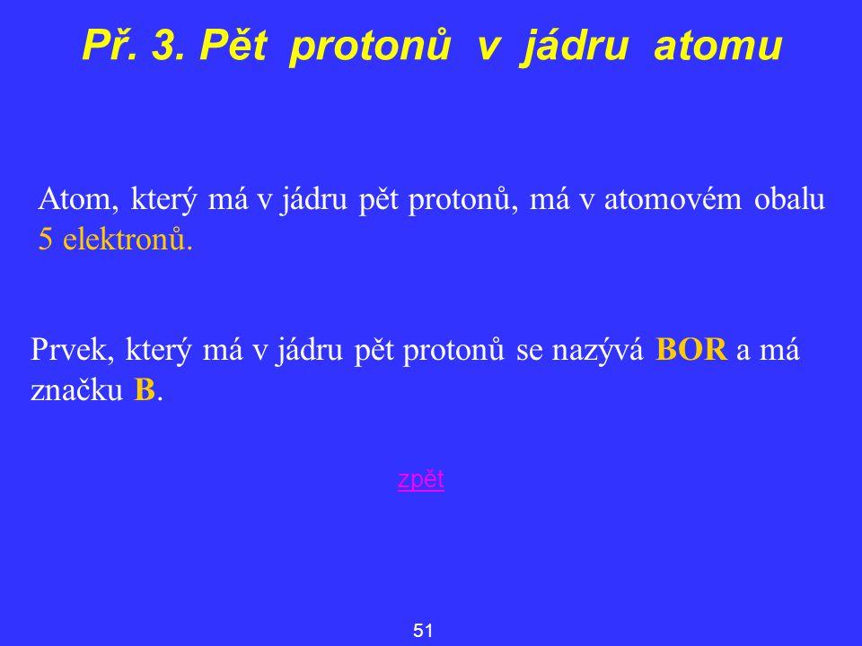 Př. 3. Pět protonů v jádru atomu Atom, který má v jádru pět protonů, má v atomovém obalu 5 elektronů. 51 Prvek, který má v jádru pět protonů se nazývá