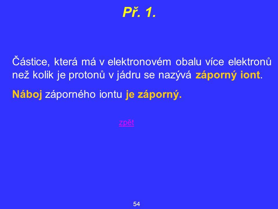 Př. 1. Částice, která má v elektronovém obalu více elektronů než kolik je protonů v jádru se nazývá záporný iont. Náboj záporného iontu je záporný. 54