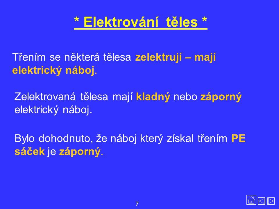 * Elektrování těles * Třením se některá tělesa zelektrují – mají elektrický náboj. Zelektrovaná tělesa mají kladný nebo záporný elektrický náboj. Bylo