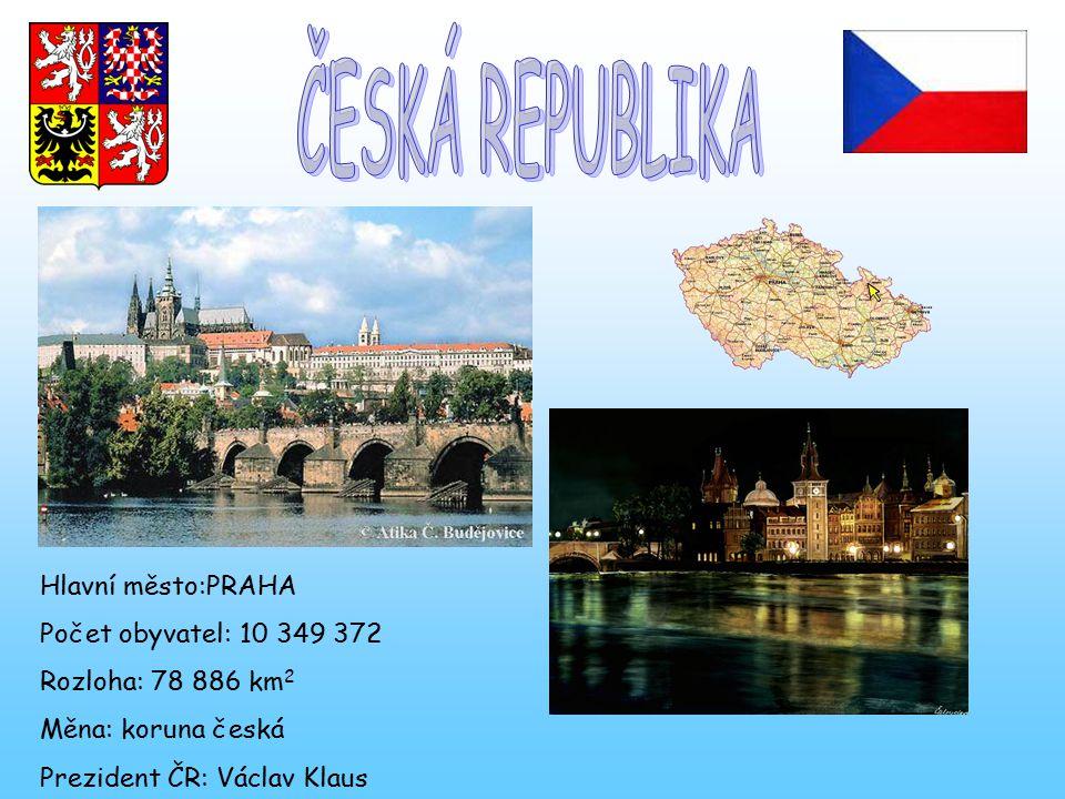 Hlavní město:PRAHA Počet obyvatel: 10 349 372 Rozloha: 78 886 km 2 Měna: koruna česká Prezident ČR: Václav Klaus