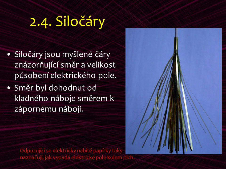 2.4. Siločáry Siločáry jsou myšlené čáry znázorňující směr a velikost působení elektrického pole. Směr byl dohodnut od kladného náboje směrem k záporn