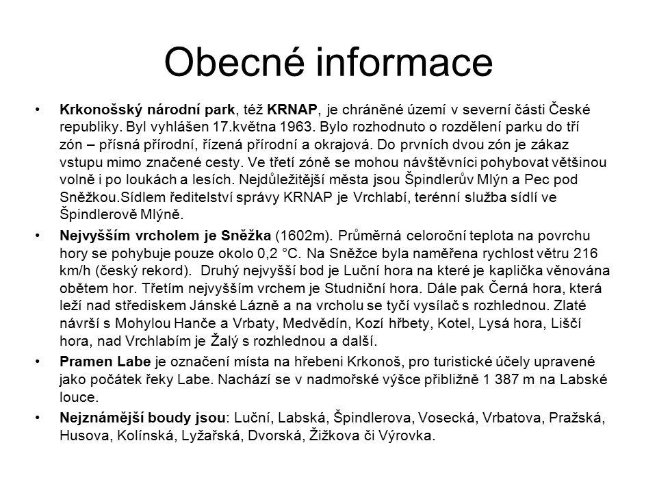 Obecné informace Krkonošský národní park, též KRNAP, je chráněné území v severní části České republiky. Byl vyhlášen 17.května 1963. Bylo rozhodnuto o