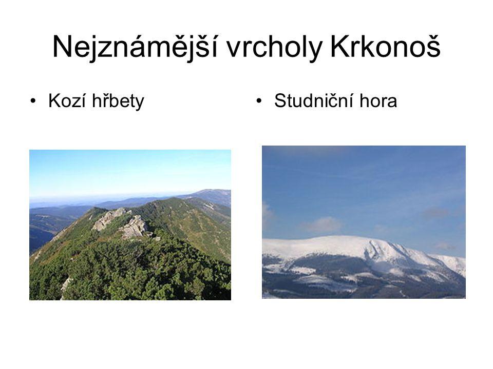 Nejznámější vrcholy Krkonoš Kozí hřbetyStudniční hora