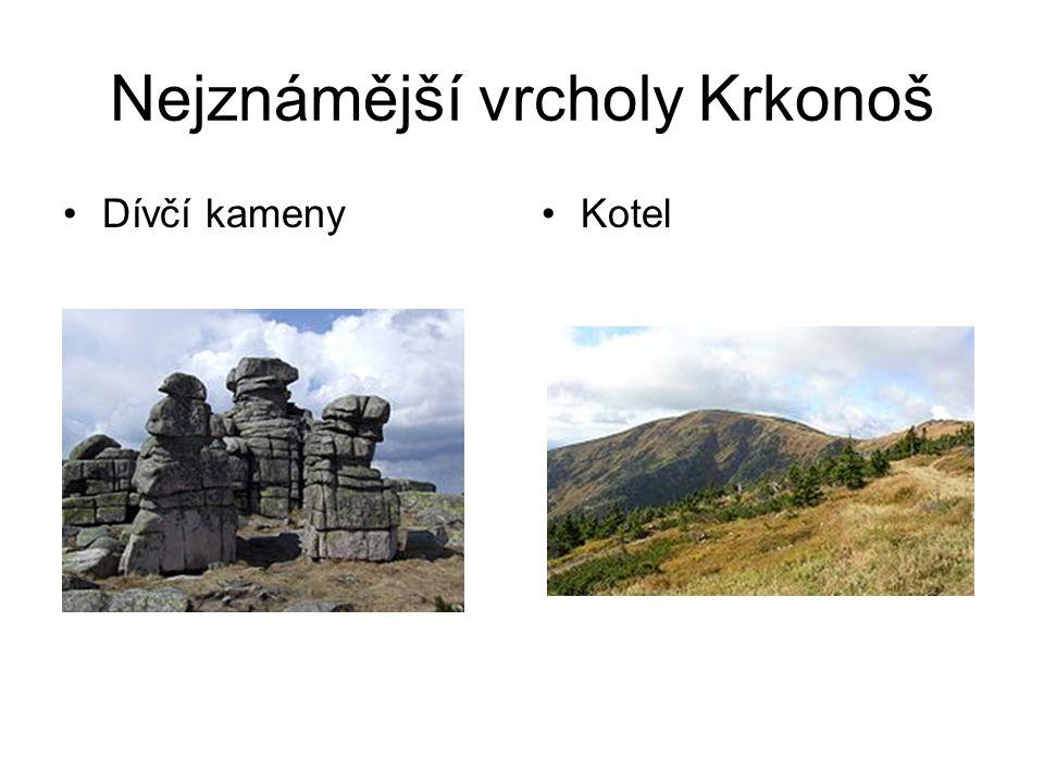 Nejznámější vrcholy Krkonoš Dívčí kamenyKotel