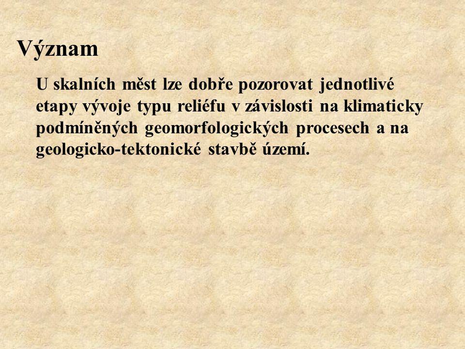 SKALNÍ HŘIB - mezomorfa modelovaná působením geomorfologických činitelů do hřibovitého tvaru - v klasických sedimentech(pískovce) a žulách - pískovce české křídové pánve nejvíce v SPR Broumovské stěny, SPR Adršpašsko-Teplické skály,...