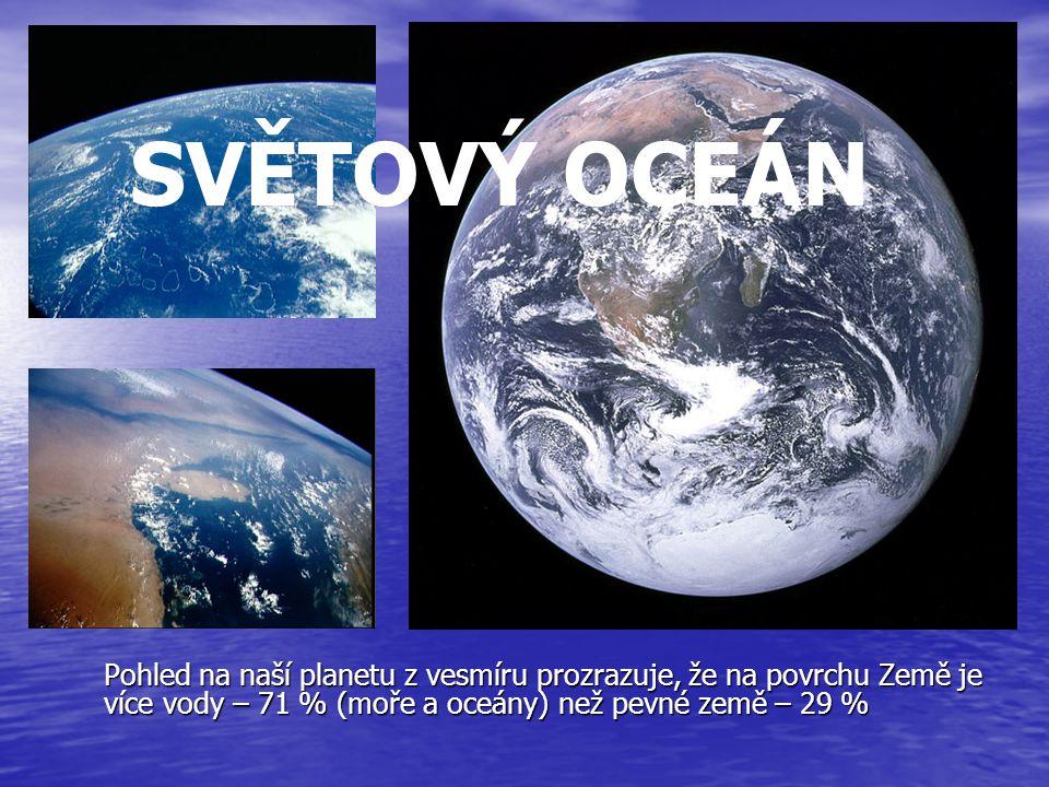 Pohled na naší planetu z vesmíru prozrazuje, že na povrchu Země je více vody – 71 % (moře a oceány) než pevné země – 29 % SVĚTOVÝ OCEÁN