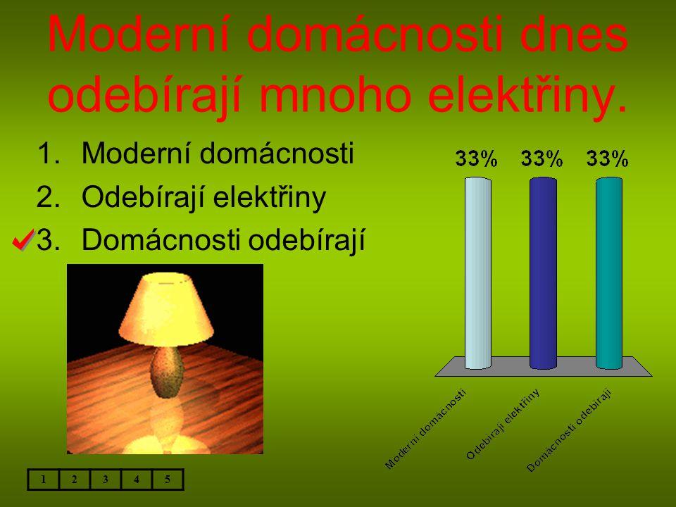 Moderní domácnosti dnes odebírají mnoho elektřiny. 12345 1.Moderní domácnosti 2.Odebírají elektřiny 3.Domácnosti odebírají