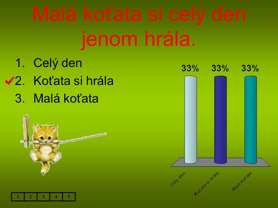 Malá koťata si celý den jenom hrála. 12345 1.Celý den 2.Koťata si hrála 3.Malá koťata