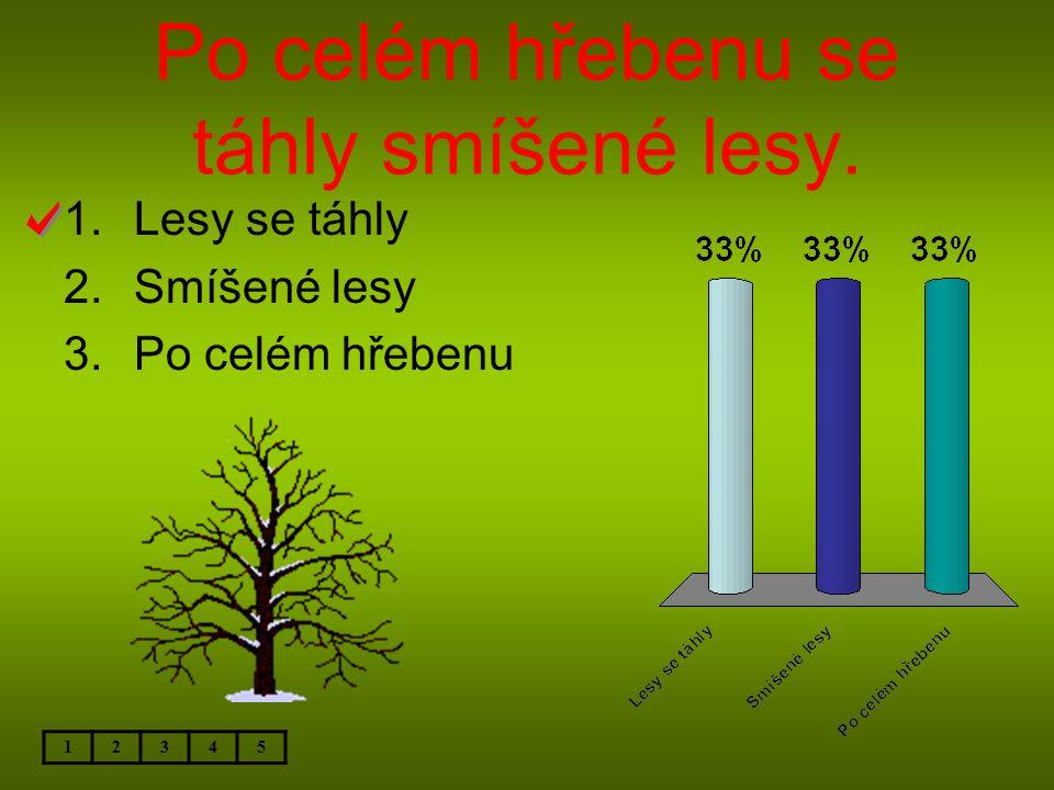 Po celém hřebenu se táhly smíšené lesy. 12345 1.Lesy se táhly 2.Smíšené lesy 3.Po celém hřebenu