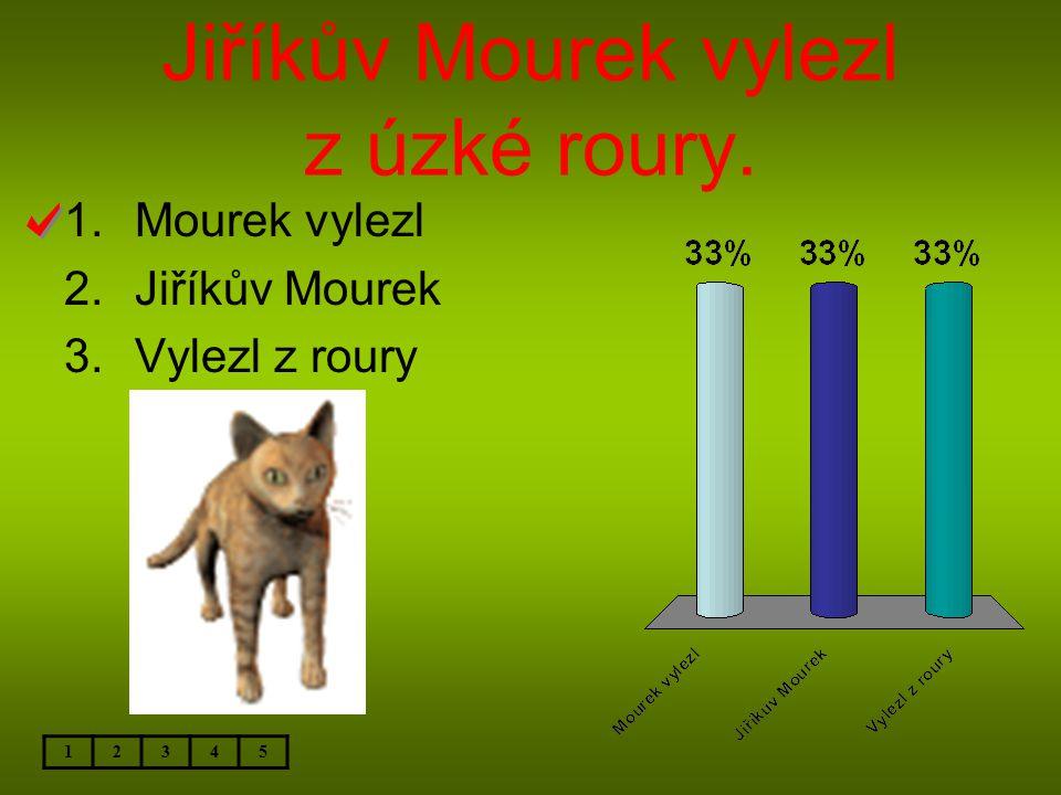 Jiříkův Mourek vylezl z úzké roury. 12345 1.Mourek vylezl 2.Jiříkův Mourek 3.Vylezl z roury