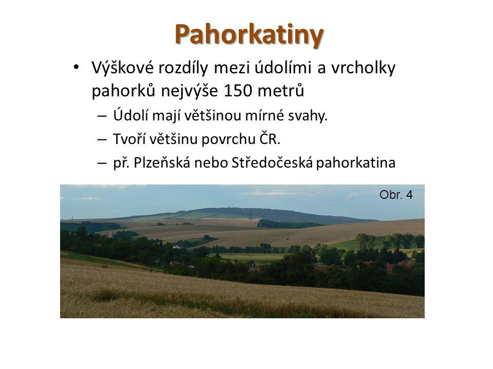 Pahorkatiny Výškové rozdíly mezi údolími a vrcholky pahorků nejvýše 150 metrů – Údolí mají většinou mírné svahy.