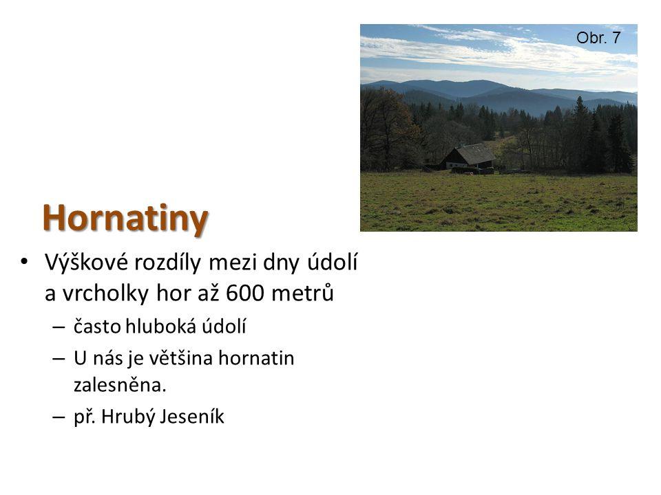 Hornatiny Výškové rozdíly mezi dny údolí a vrcholky hor až 600 metrů – často hluboká údolí – U nás je většina hornatin zalesněna.