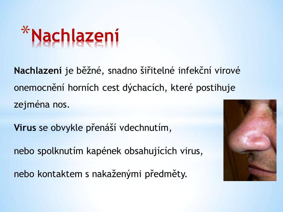 Nachlazení je běžné, snadno šiřitelné infekční virové onemocnění horních cest dýchacích, které postihuje zejména nos.