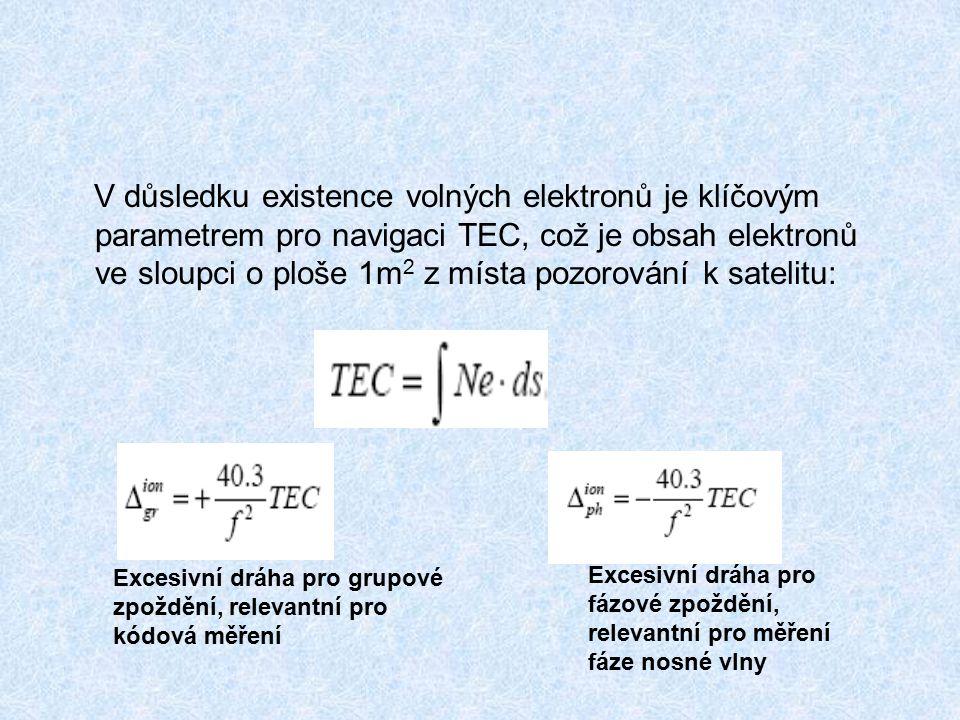 V důsledku existence volných elektronů je klíčovým parametrem pro navigaci TEC, což je obsah elektronů ve sloupci o ploše 1m 2 z místa pozorování k satelitu: Excesivní dráha pro grupové zpoždění, relevantní pro kódová měření Excesivní dráha pro fázové zpoždění, relevantní pro měření fáze nosné vlny