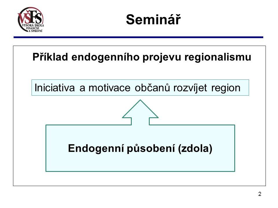 2 Příklad endogenního projevu regionalismu Endogenní působení (zdola) Seminář Iniciativa a motivace občanů rozvíjet region