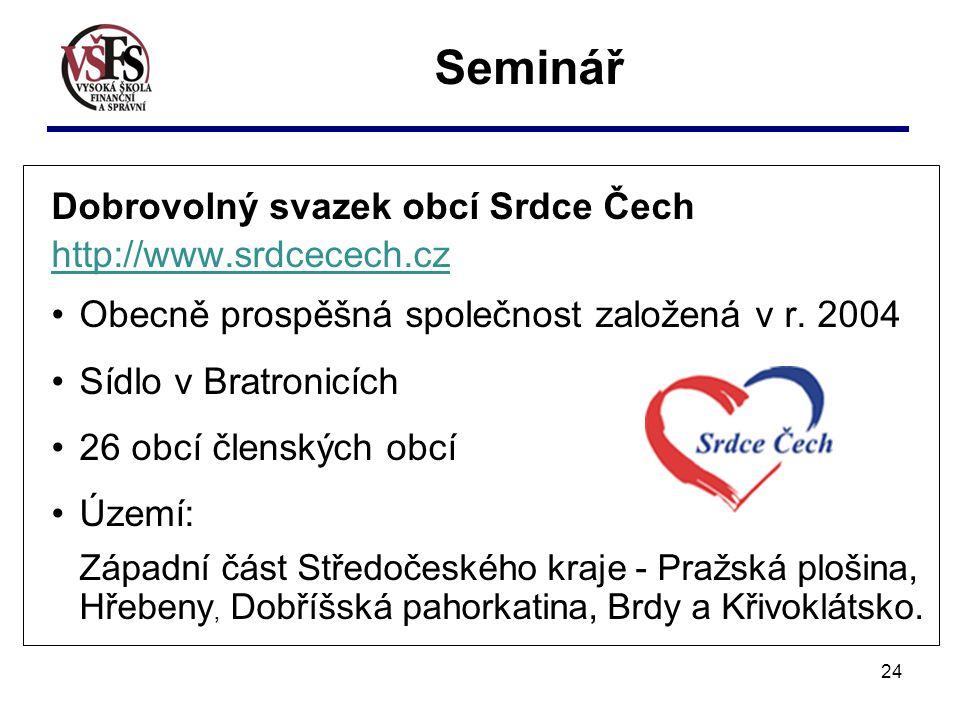 24 Seminář Dobrovolný svazek obcí Srdce Čech http://www.srdcecech.cz Obecně prospěšná společnost založená v r.