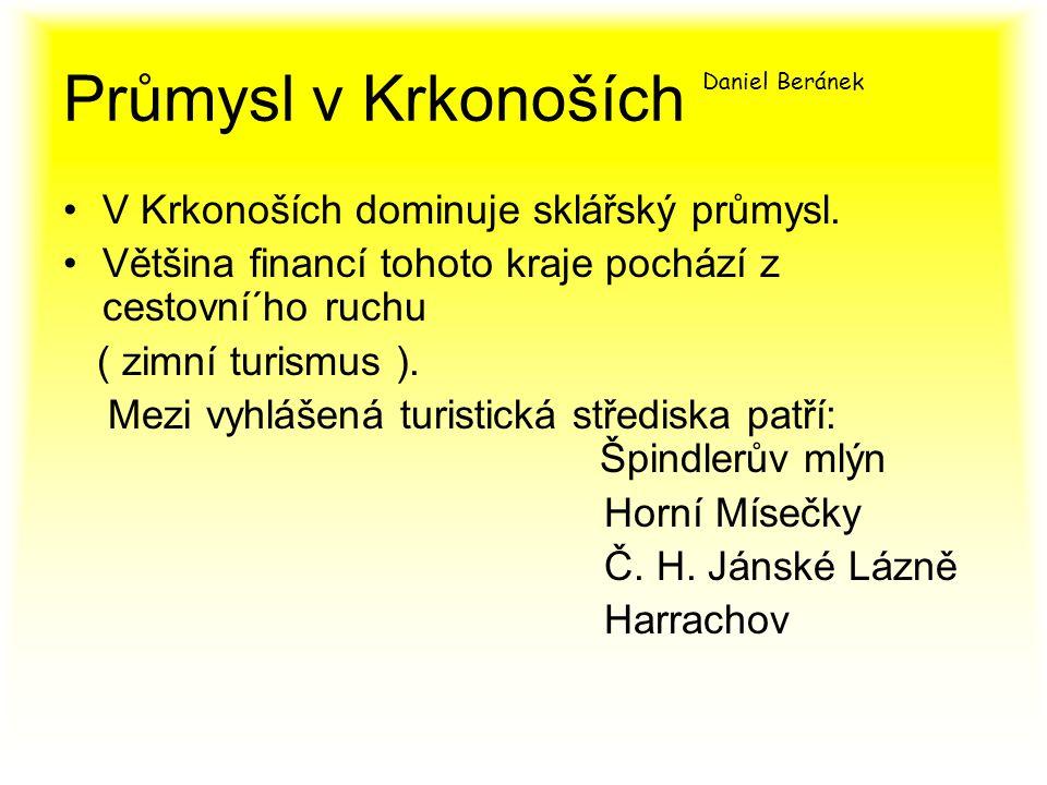 Průmysl v Krkonoších Daniel Beránek V Krkonoších dominuje sklářský průmysl.