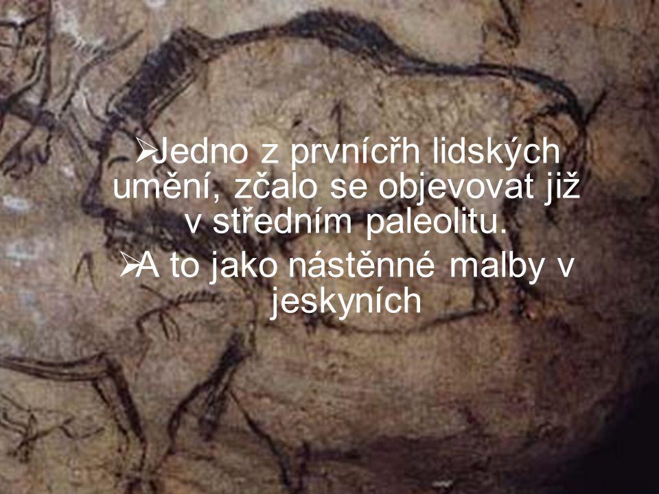  Jedno z prvnícřh lidských umění, zčalo se objevovat již v středním paleolitu.  A to jako nástěnné malby v jeskyních