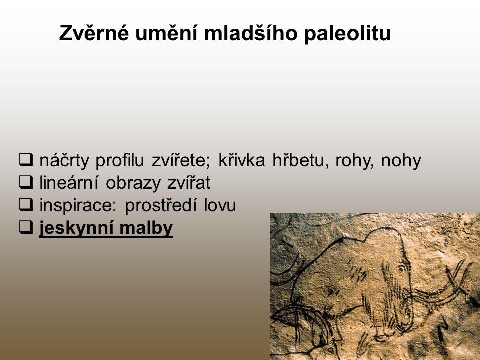 Zvěrné umění mladšího paleolitu  náčrty profilu zvířete; křivka hřbetu, rohy, nohy  lineární obrazy zvířat  inspirace: prostředí lovu  jeskynní ma